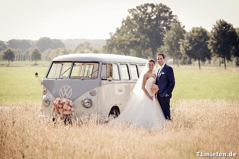 Hochzeitsbulli mieten Volkswagen T1 Weiss hell Grau in 48477 Hörstel